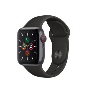 Apple Watch Series 5, Aluminum Case with Black Sport Band
